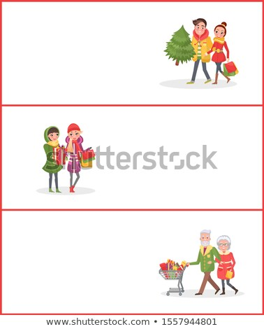 Navidad compras personas hojas perennes árbol web Foto stock © robuart