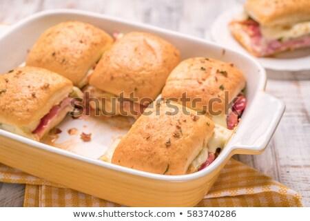 Desayuno queso jamón alimentos fondo taza Foto stock © zoryanchik