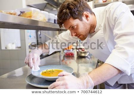 feliz · masculina · chef · cocinar · algo · batidor - foto stock © dolgachov