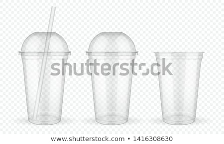 Plastic Cup Transparent Vector. Template Container. Drink Mug. Disposable Tableware Clear Empty Cont stock photo © pikepicture