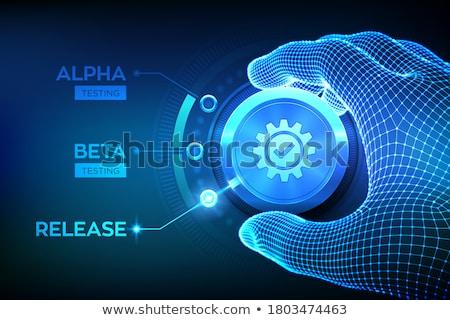 Béta tesztelés pici üzletemberek digitális eszközök Stock fotó © RAStudio