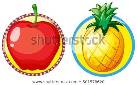 Mela rossa ananas badge illustrazione sfondo arte Foto d'archivio © colematt
