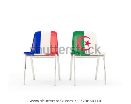 два стульев флагами Франция Алжир изолированный Сток-фото © MikhailMishchenko