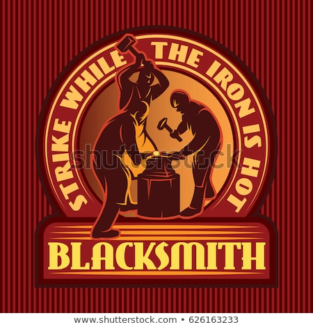 color vintage blacksmith emblem stock fotó © netkov1
