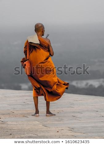 Buddhist monk standing alone Stock photo © colematt