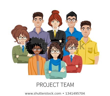 Project team avatars. Teamwork and brainstorming concept. Join our team concept. Flat vector illustr Stock photo © makyzz