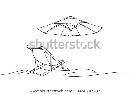 Beach with Chaise Longue, Umbrella Sunshine Beach Stock photo © robuart