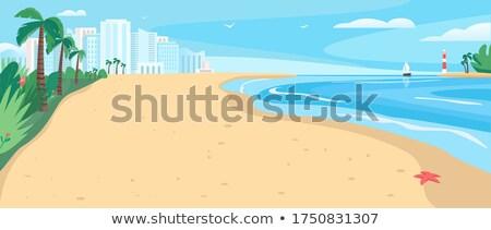 Kustlijn vakantie zonnige vector paraplu Stockfoto © robuart