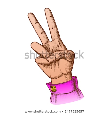 Color Hand Gesture Peace Symbol Two Finger Up Ink Vector Stock photo © pikepicture