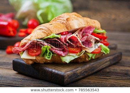 サンドイッチ サラミ 木板 スペイン語 背景 パン ストックフォト © Alex9500
