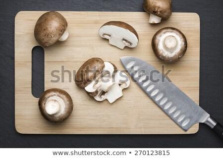 Vág champignon izolált sötét szürke szeletel Stock fotó © lichtmeister