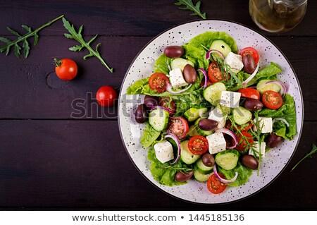Grecki Sałatka świeże warzywa oliwy akwarela Zdjęcia stock © bonnie_cocos