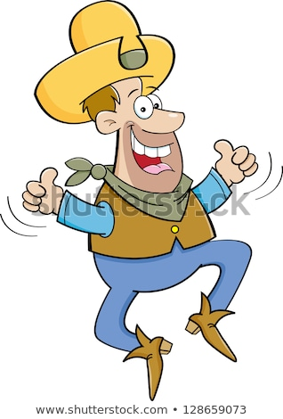 Cartoon cowboy jumping due illustrazione Foto d'archivio © bennerdesign
