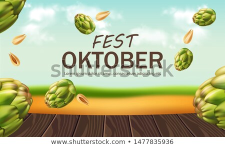 October fest poster with hops Vector realistic. Falling green fr Stock photo © frimufilms