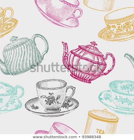 Vintage pattern with tea cup Stock photo © Artspace
