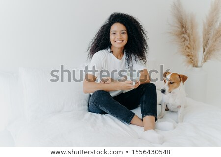 Glad dark skinned Afro American female feels relaxed, poses in bedroom on comfortable bed with pedig Stock photo © vkstudio