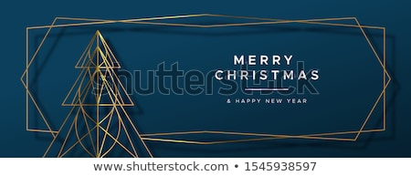 Christmas New Year gold art deco pine tree banner Stock photo © cienpies
