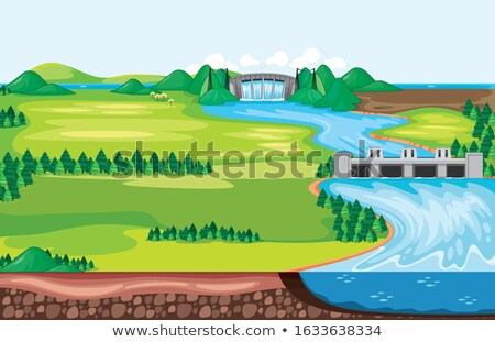 Scene with water running down from the dam  Stock photo © bluering