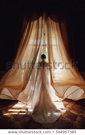 Nadenkend brunette vrouwelijke bruid mooie trouwjurk Stockfoto © vkstudio