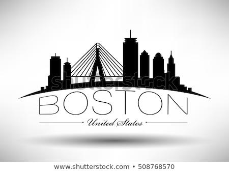 Бостон черно белые силуэта простой туризма Сток-фото © ShustrikS