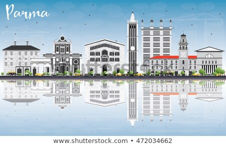 Parma Skyline with Gray Buildings, Blue Sky and Reflections. Stock photo © ShustrikS