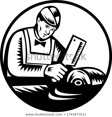 Butcher Chopping Meat With Meat Cleaver Knife Circle Woodcut Retro Black and White Stock photo © patrimonio