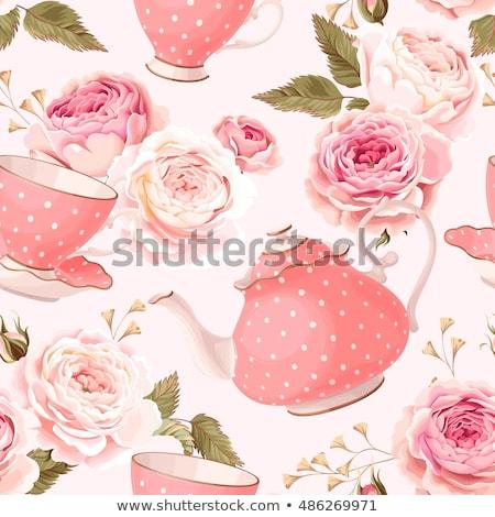 розовый чайник аннотация иллюстрация роз кружево Сток-фото © ElaK