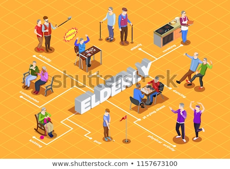 Elder People Pensioner Isometric Icons Set Vector Stock photo © pikepicture