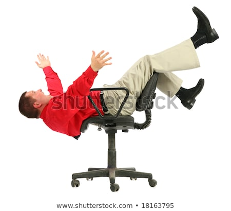 Businessman in red shirt falls from chairs upside down Stock photo © Paha_L