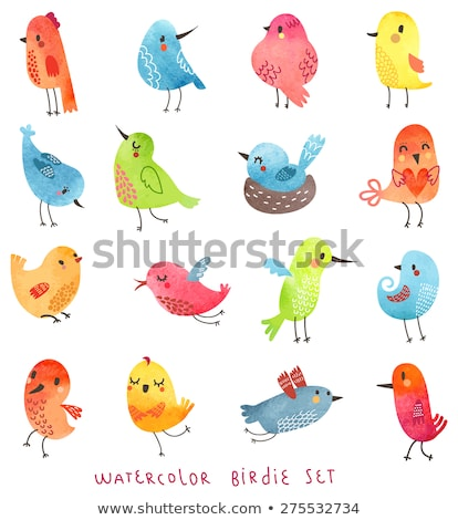 Cute color vector Twitter Birds icons collection isolated on whi Stock photo © lordalea