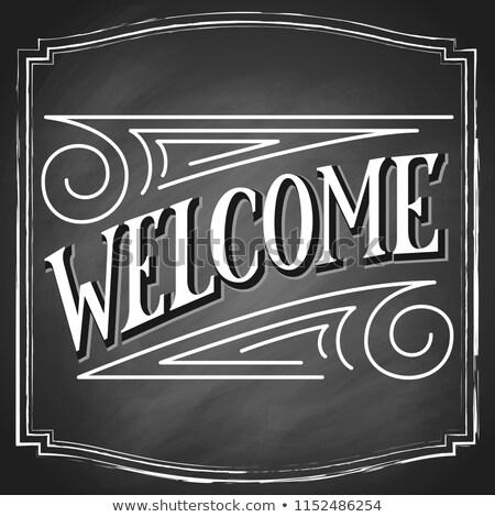 borrador · palabra · bienvenida · casa · puerta · lápiz - foto stock © bbbar