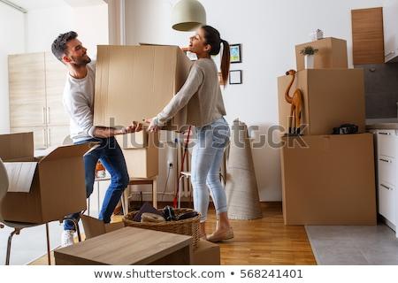 feliz · mujer · relajante · cajas · piso · taza - foto stock © photography33