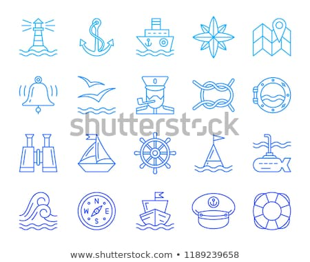 simple marine sailing and sea icons stock photo © stoyanh