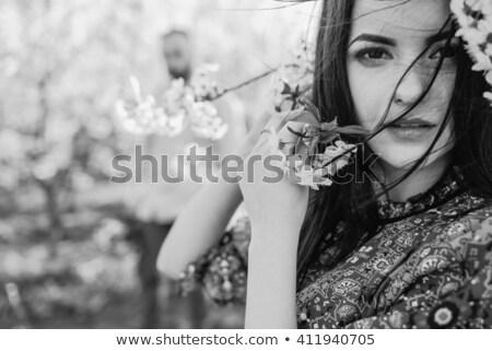 женщину трава лице волос саду ветер Сток-фото © photography33