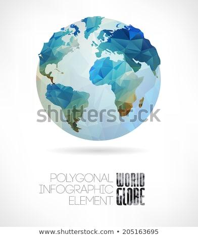 3D Föld tükröződő fényes földgömb absztrakt Stock fotó © chrisroll