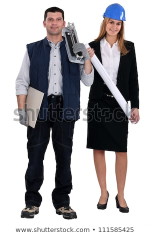 Female architect stood with tile cutter Stock photo © photography33