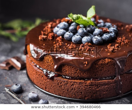 dessert, chocolate cake with berries stock photo © M-studio