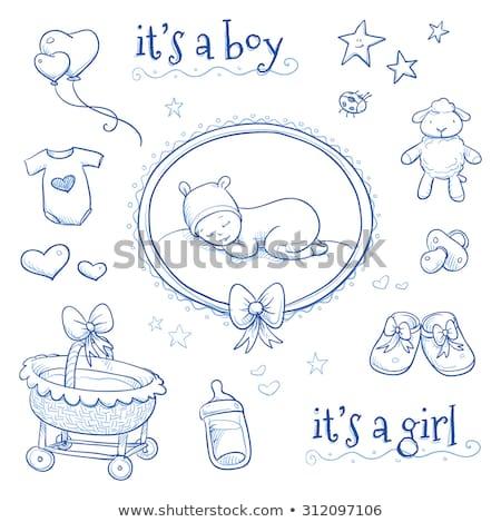 赤ちゃん 発表 カード ミルク ボトル おしゃぶり ストックフォト © balasoiu
