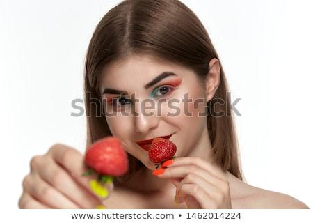 çekici · esmer · kadın · taze · çilek · portre - stok fotoğraf © lithian