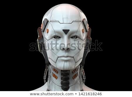 Robot android faccia nero computer testa Foto d'archivio © Balefire9