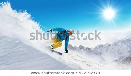 Stock fotó: Sí · fiatal · nő · síel · Alpok · szabadtér · sportok