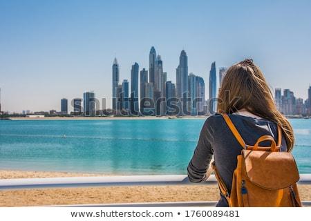 Dubai sziluett alkonyat néz tengerpart mutat Stock fotó © SophieJames