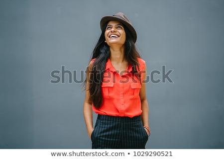 nő · áll · kezek · fehér · boldog · háttér - stock fotó © wavebreak_media