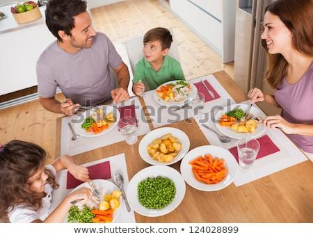 мальчика еды горох зеленый белый пластина Сток-фото © joseph73