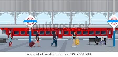 Estação de trem elétrico preto e branco tráfego eletricidade transporte Foto stock © ABBPhoto