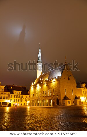 Tallinn Town Hall Casting Shadow on the Dark Sky, Estonia Stock photo © anshar