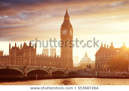 big ben and westminster bridge in the evening london united ki stock photo © anshar