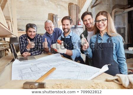 Gyakornok építész remek mosolyog fehér személy Stock fotó © lovleah
