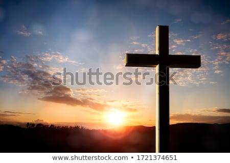 çapraz kilise küçük dağ güneş gün batımı Stok fotoğraf © vladodelic
