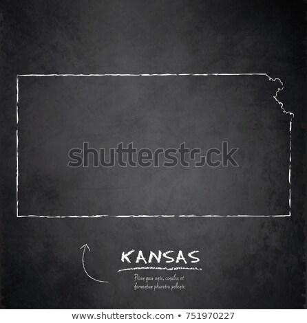 outline map of kansas on blackboard  Stock photo © vepar5
